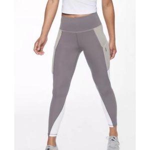 Athleta Gray/White Colorblock 7/8 Leggings